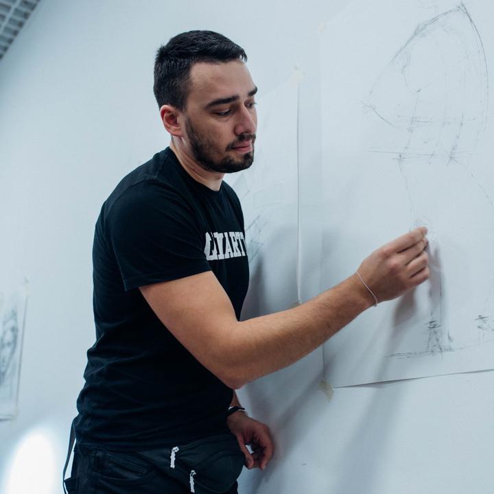 Азат Нургалеев. Рисуем скелет в контрапосте.