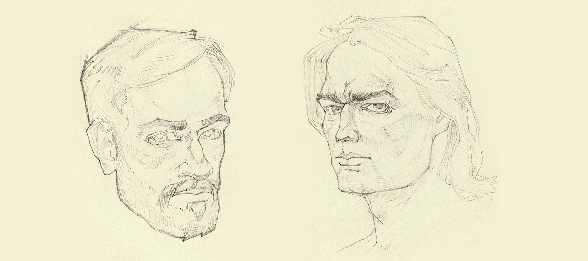 Работа куратора курса Портретный скетчинг, Антона Коростова